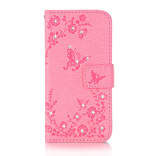 Case For Apple iPhone X / iPhone 8 Wallet / Card Holder / Rhinestone Full Body Cases Butterfly Hard PU Leather for iPhone X / iPhone 8 Plus / iPhone 8