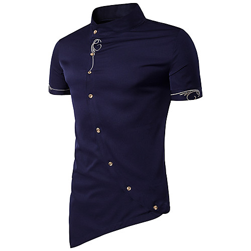 Men's Daily Sports Going out Cotton T-shirt - Solid Colored Stand Navy Blue L / Short Sleeve / Spring / Summer
