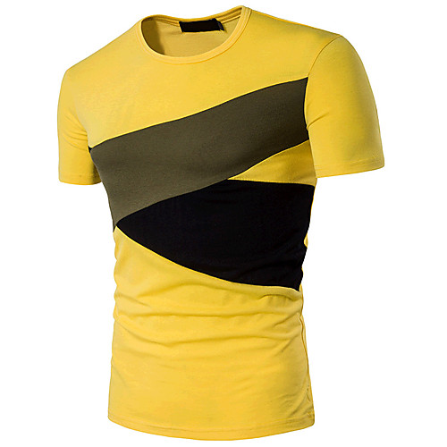 Men's Daily Sports Going out Active Cotton T-shirt - Color Block Round Neck Black L / Short Sleeve / Summer