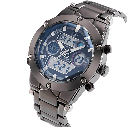 ASJ Men's Wrist Watch Japanese Stainless Steel Silver 30 m Water Resistant / Waterproof Alarm Calendar / date / day Analog - Digital Luxury - White Black Blue Two Years Battery Life / Chronograph