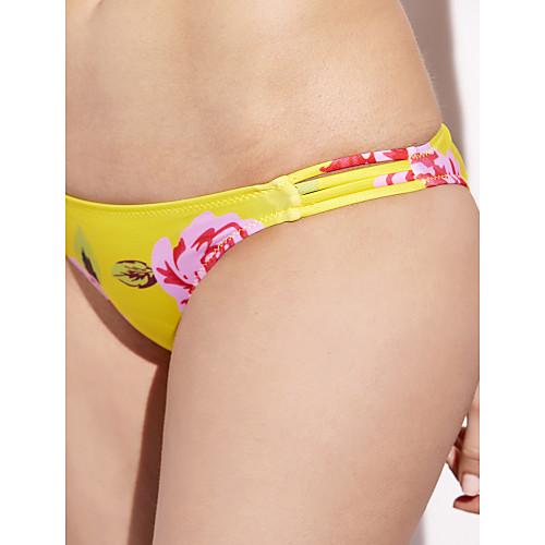 15ba24523fa Women's Boho Strapless Yellow Bandeau Cheeky Bikini Swimwear - Floral Print S  M L Yellow / Push-. lightinthebox