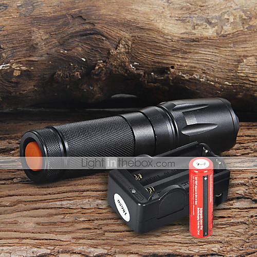 UltraFire W-878 Светодиодные фонари Светодиодная лампа 1800 lm 5 Режим LED с батарейками и зарядным устройством Фокусировка