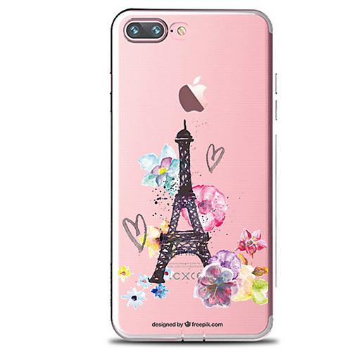 Кейс для Назначение Apple iPhone 7 Plus iPhone 7 Прозрачный С узором Кейс на заднюю панель Цветы Эйфелева башня Мягкий ТПУ для iPhone 7