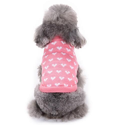 Кошка Собака Свитера Одежда для собак С сердцем Розовый Акриловые волокна Костюм Для домашних животных Муж. Жен. На каждый день Мода кошка собака толстовка пижамы одежда для собак леопард черный флис костюм для домашних животных муж жен на каждый день