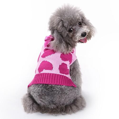 Кошка Собака Плащи Свитера Комбинезоны Одежда для собак С сердцем Розовый Акриловые волокна Костюм Для домашних животных Муж. Жен. кошка собака свитера одежда для собак однотонный коричневый сукно костюм для домашних животных муж жен