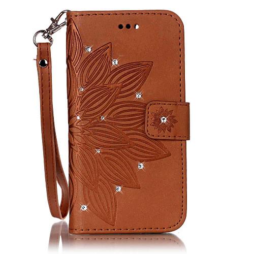 Кейс для Назначение SSamsung Galaxy S7 edge / S7 Бумажник для карт / Стразы / со стендом Чехол Цветы Твердый Кожа PU для S7 edge / S7 / S6 edge фото