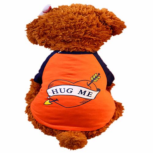 Собака Футболка Одежда для собак С сердцем Оранжевый Хлопок Костюм Для домашних животных Муж. Жен. Мода собака футболка одежда для собак с сердцем камуфляж серый хлопок костюм для домашних животных