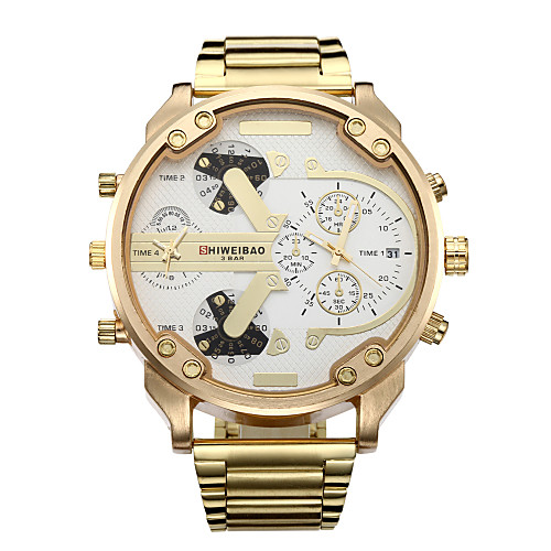 Men's Sport Watch Military Watch Wrist Watch Quartz Calendar / date / day Dual Time Zones Cool Stainless Steel Band Analog Luxury Vintage Casual Gold - Gold / White