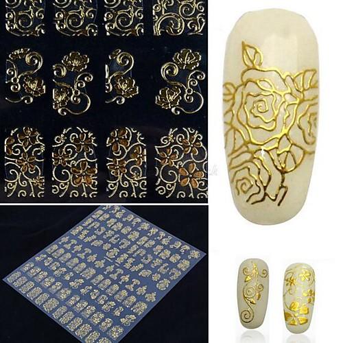 108 one sheet golden 3d flower nail art stickers