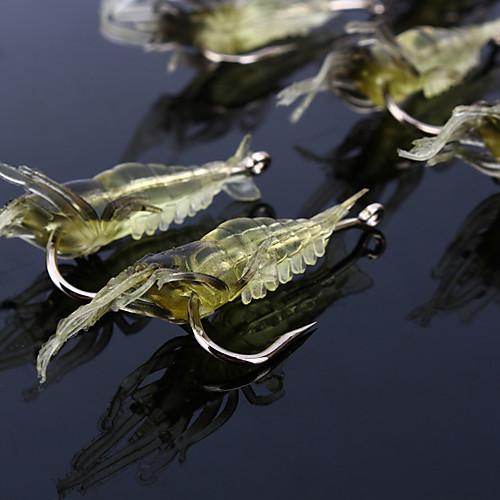 10 штук Мягкие приманки Рыболовная приманка рыболовные крючки Креветка Jerkbaits Мягкие приманки Мягкие пластиковые Силиконовые Морское