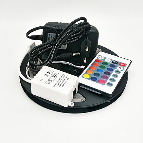 Zzdm 5m 300x3528 smd rgb светодиодная лампа с подсветкой и 24key дистанционный контроллер и 3a eu / us / uk блок питания (ac110-240v)