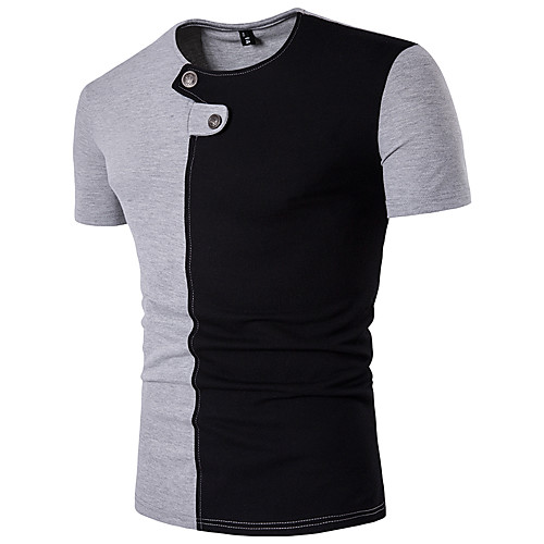 Men's Daily Sports Weekend Active Cotton Slim T-shirt - Color Block Patchwork Round Neck White L / Short Sleeve / Summer