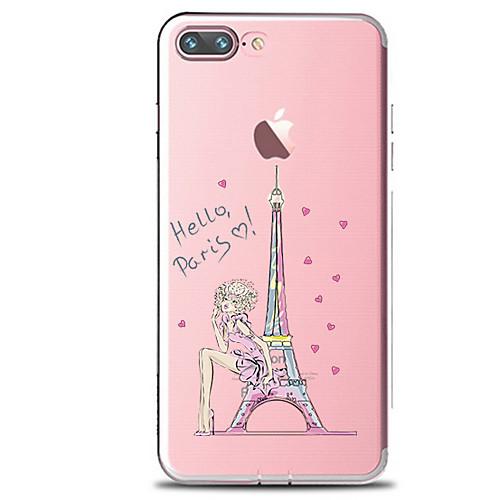 Кейс для Назначение Apple iPhone 7 Plus iPhone 7 Прозрачный С узором Кейс на заднюю панель Эйфелева башня Мягкий ТПУ для iPhone 7 Plus