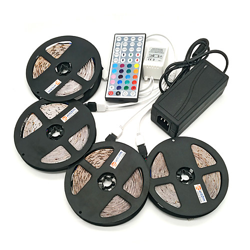 ZDM 4x5M Наборы ламп 1200 светодиоды 1 адаптер 12V 6A 1 пульт дистанционного управления 44Keys 1x 1 до 4 разъема кабеля 1 кабель