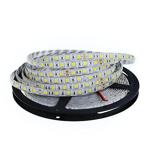5 метров Гибкие светодиодные ленты 300 светодиоды 5050 SMD Тёплый белый / Белый Можно резать / Компонуемый / Подсветка для авто 12 V / Самоклеющиеся / IP44 фото