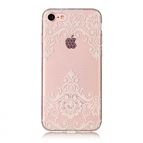 Case For Apple iPhone X / iPhone 8 IMD / Transparent / Pattern Back Cover Lace Printing Soft TPU for iPhone X / iPhone 8 Plus / iPhone 8