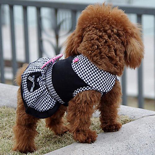 Собака Платья Одежда для собак Принцесса Черный Хлопок Костюм Для домашних  животных Муж. Жен. ad04ff281f606