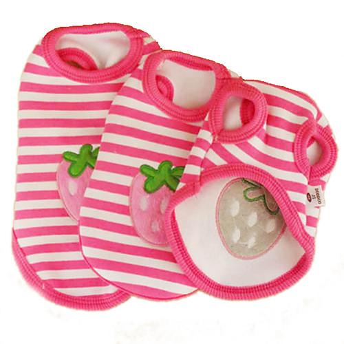Кошка Собака Футболка Одежда для собак В полоску Фрукты Розовый Хлопок Костюм Для домашних животных Косплей Свадьба