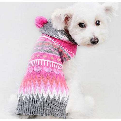 Собака Свитера Одежда для собак геометрический Пурпурный Шелковая ткань Хлопок Костюм Для домашних животных Муж. Жен. На каждый день Мода кошка собака свитера одежда для собак однотонный коричневый сукно костюм для домашних животных муж жен