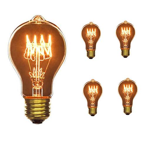 5 шт. 40W E26 / E27 A60(A19) Тёплый белый 2300k Ретро Диммируемая Декоративная Лампа накаливания Vintage Эдисон лампочка 110-130V