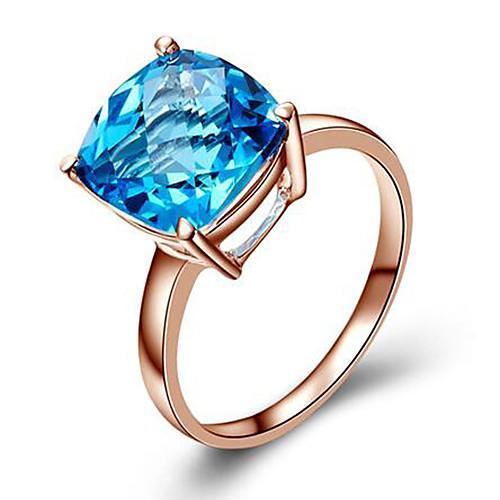 Жен. Синтетический алмаз Розовое золото / Цирконий / Серебрянное покрытие Кольцо - Квадратное сокращение Мода Синий / Светло-коричневый