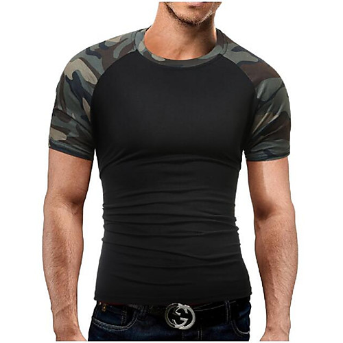 Men's Daily Sports Weekend Military Plus Size Cotton Slim T-shirt - Camo / Camouflage Print Round Neck Black XL / Short Sleeve / Summer