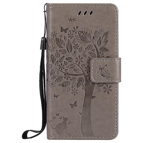 где купить Кейс для Назначение SSamsung Galaxy A5(2017) A3(2017) Бумажник для карт Кошелек со стендом Флип Рельефный Чехол Кот дерево Твердый Кожа PU дешево