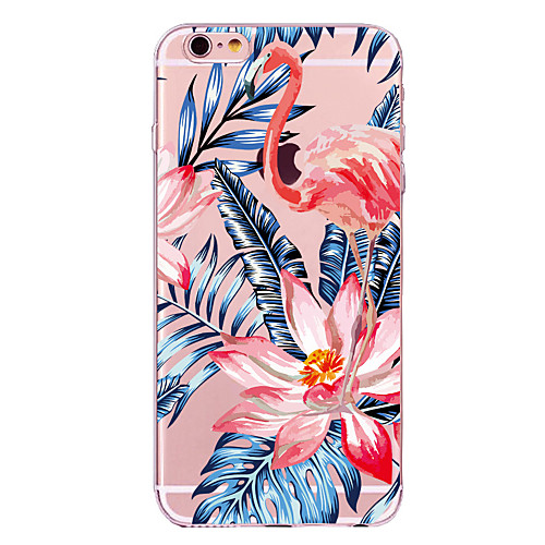 Кейс для Назначение Apple iPhone X iPhone 8 Прозрачный С узором Кейс на заднюю панель Фламинго Цветы Мягкий ТПУ для iPhone X iPhone 8 куплю дверь на фольксваген гольф 2