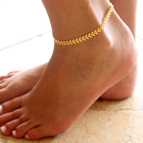 В форме листа Ножной браслет - Жен. Золотой / Серебряный Мода Ножной браслет Назначение Повседневные в форме листа двухслойные зонты ножной