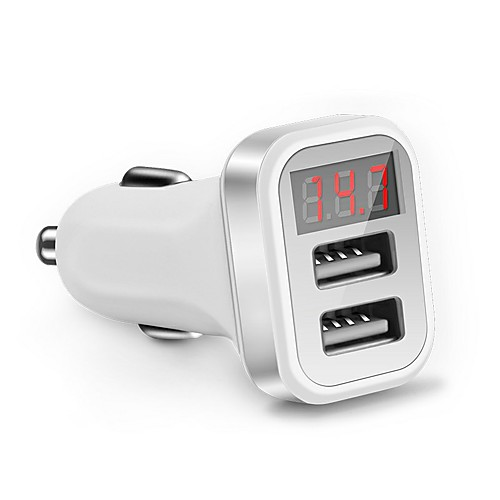 LED Screen Car Charger QC 2.0 Dual Usb Charger Socket 2.1A Mobile Phone Charging Adapter