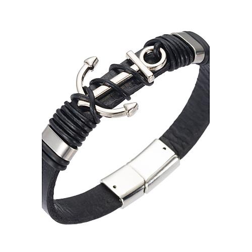 Муж. Кожаные браслеты - Кожа Природа, Мода Браслеты Черный Назначение Особые случаи / Подарок бижутерия в подарок
