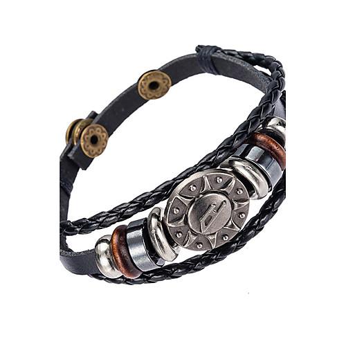 Муж. Кожаные браслеты Кожа Природа Мода Браслеты Бижутерия Черный Назначение Особые случаи Подарок Спорт фото