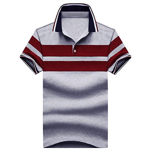 Муж. Классический Polo Хлопок, Рубашечный воротник Полоски Синий XL / С короткими рукавами / Лето