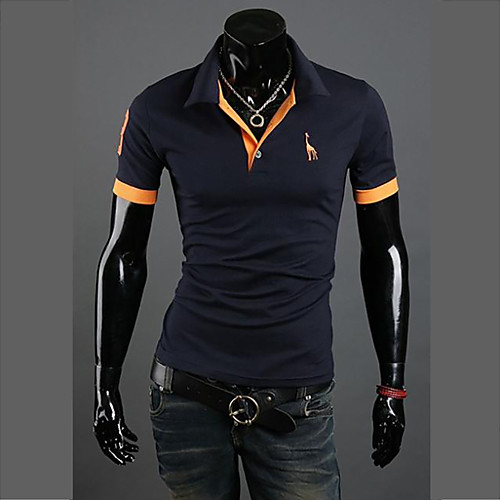 Муж. Большие размеры - Polo Хлопок, Рубашечный воротник Тонкие Активный Однотонный Серый XL / С короткими рукавами / Лето
