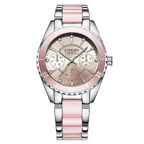 Women's Bracelet Watch Wrist Watch Quartz Stainless Steel Ceramic White / Pink 30 m Water Resistant / Waterproof Creative Glow in the Dark Analog Ladies Charm Luxury Casual Bangle - White Pink Two