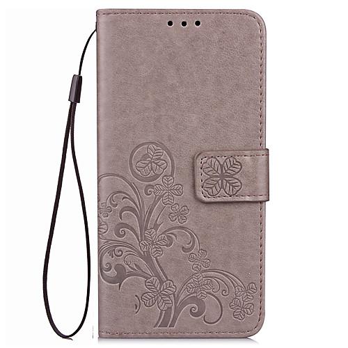 Кейс для Назначение Huawei Honor 7 Huawei Honor V8 Huawei Бумажник для карт Кошелек со стендом Флип Рельефный Чехол Сплошной цвет Цветы