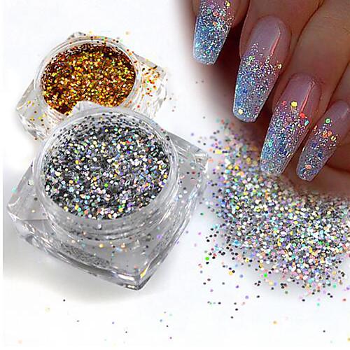 1 pcs Пайетки / Порошок блеска Элегантный и роскошный / Блеск и сияние / Гель для ногтей Дизайн ногтей