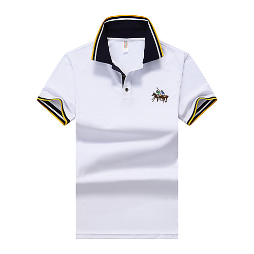 Муж. Классический Polo Рубашечный воротник Однотонный Синий XL / С короткими рукавами / Лето