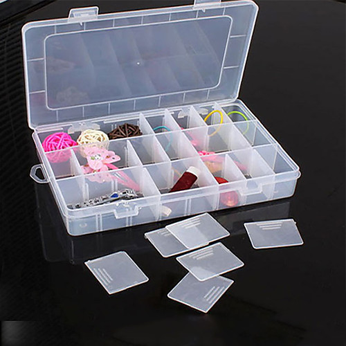 24 Compartment Adjustable Rectangle Container Plastic Storage Jewelry Beads Box