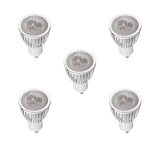 5 шт. 3W 260-300lm GU10 Точечное LED освещение MR16 3 Светодиодные бусины Высокомощный LED Диммируемая Тёплый белый Белый 220-240V