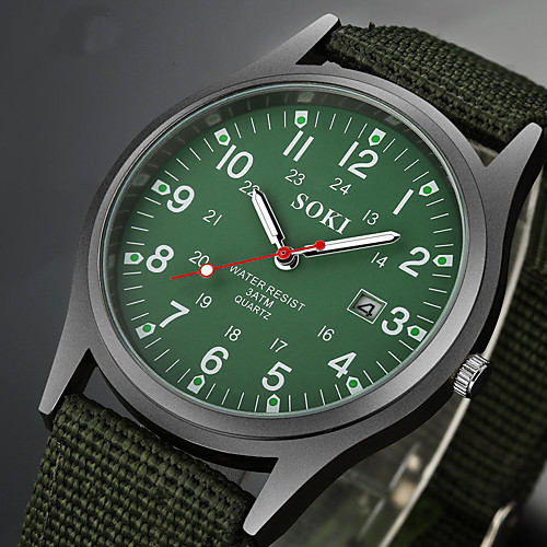 Men's Wrist Watch field watch Black / Brown / Green Water Resistant / Waterproof Calendar / date / day Creative Analog Charm Casual Fashion Elegant Aristo - Brown Green Camouflage Green One Year