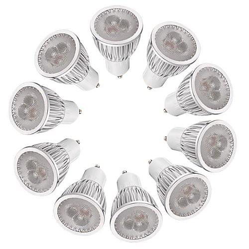 10 шт. 3W 260-300lm GU10 Точечное LED освещение MR16 3 Светодиодные бусины Высокомощный LED Диммируемая Тёплый белый Белый 220-240V