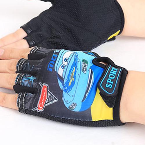 Перчатки для велосипедистов Дышащий Противозаносный Впитывает пот и влагу Защитный Полупальцами Спортивные перчатки Лайкра Горные велосипеды Синий Красный Светло-желтый для Детские фото