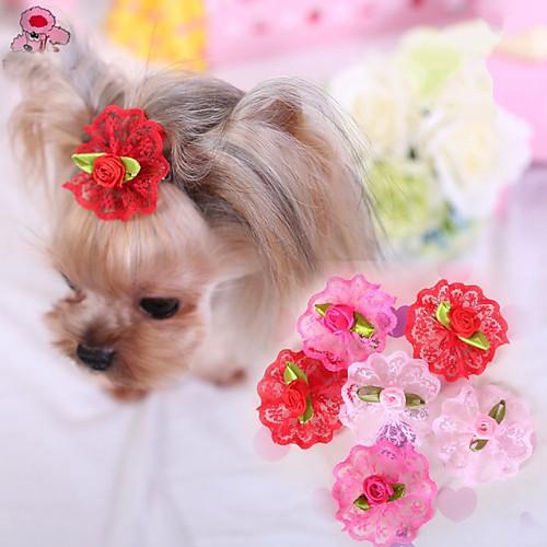 Кошка Собака Аксессуары для создания прически Бант Одежда для собак Розовый Красный Розовый Терилен Костюм Для домашних животных Косплей кошка собака футболка одежда для собак с сердцем пайетки белый черный розовый терилен костюм для домашних животных
