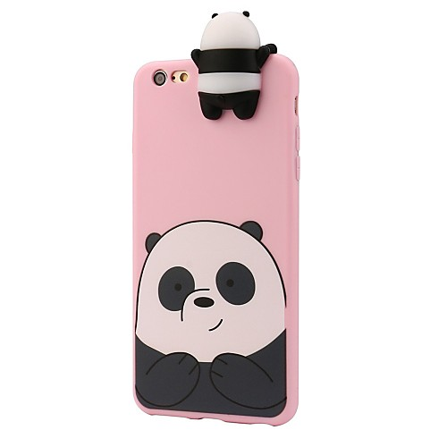 Кейс для Назначение Apple iPhone 8 iPhone 8 Plus Защита от удара С узором Кейс на заднюю панель Панда 3D в мультяшном стиле Мягкий Силикон детская футболка классическая унисекс printio король панда