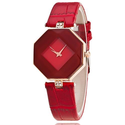Women's Wrist Watch Quartz Quilted PU Leather Black / White / Blue Casual Watch Analog Ladies Charm Casual Fashion Elegant - Purple Red Blue