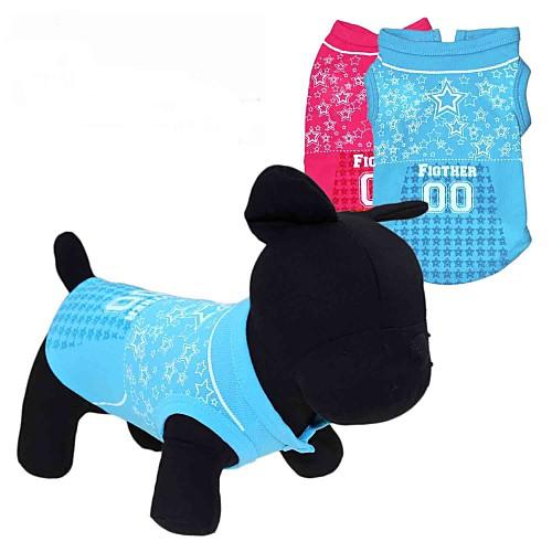 Кошка Собака Футболка Одежда для собак С сердцем Звезды Красный Синий Терилен Костюм Для домашних животных кошка собака футболка одежда для собак с сердцем пайетки белый черный розовый терилен костюм для домашних животных