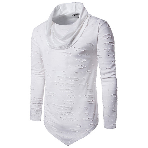 Men's Daily Going out Weekend Punk & Gothic Cotton Slim T-shirt - Solid Colored Turtleneck White L / Long Sleeve / Fall / Winter