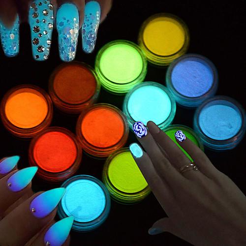 1pcs Акриловый порошок Гель для ногтей порошок Светящийся Блеск и сияние Дизайн ногтей