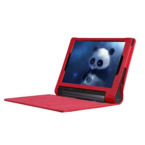 Кейс для Назначение Lenovo IdeaPad Lenovo Полноразмерные чехлы Кейсы с подставкой Чехол Сплошной цвет Твердый Кожа PU для